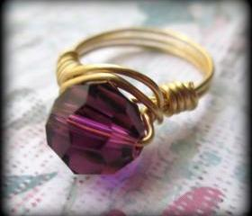 Purple crystal ring.Made any size.Gift box included.