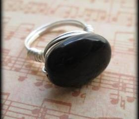 Silver handcrafted black onyx ring.Made any size 4-12.Gift box included.