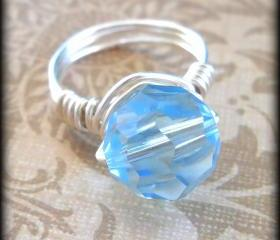 Aquamarine swarovski crystal statement ring.Aquamarine.Blue.Unique ring.Summer style.