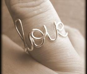 Love ring.Wire ring.Word ring.BFF ring.Bridesmaid gift.Silver love ring.