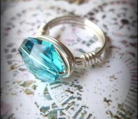 Turquoise blue crystal ring.Wire~wrapped.Made to order.