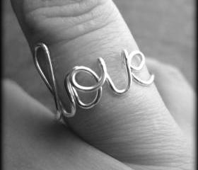 Love ring.Wire ring.Word ring.BFF ring.Bridesmaid gift.Silver ring.
