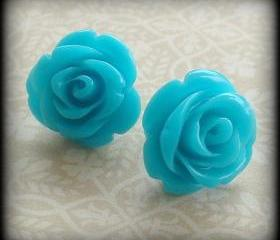Turquoise blue rose post earrings.