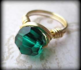 Emerald crystal statement ring.May birthstone.Made any size 4-12.Gift box included.